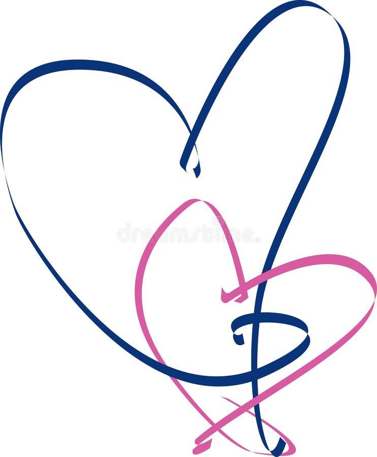Coração da fita cor-de-rosa e azul ilustração stock