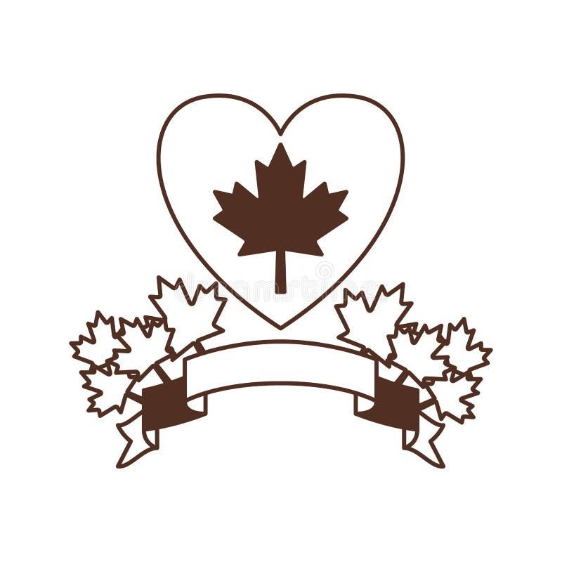 Coração da fita da folha de bordo e projeto de Canadá ilustração do vetor