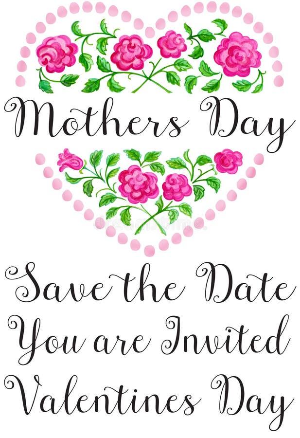 Coração da flor do dia de mães ilustração stock