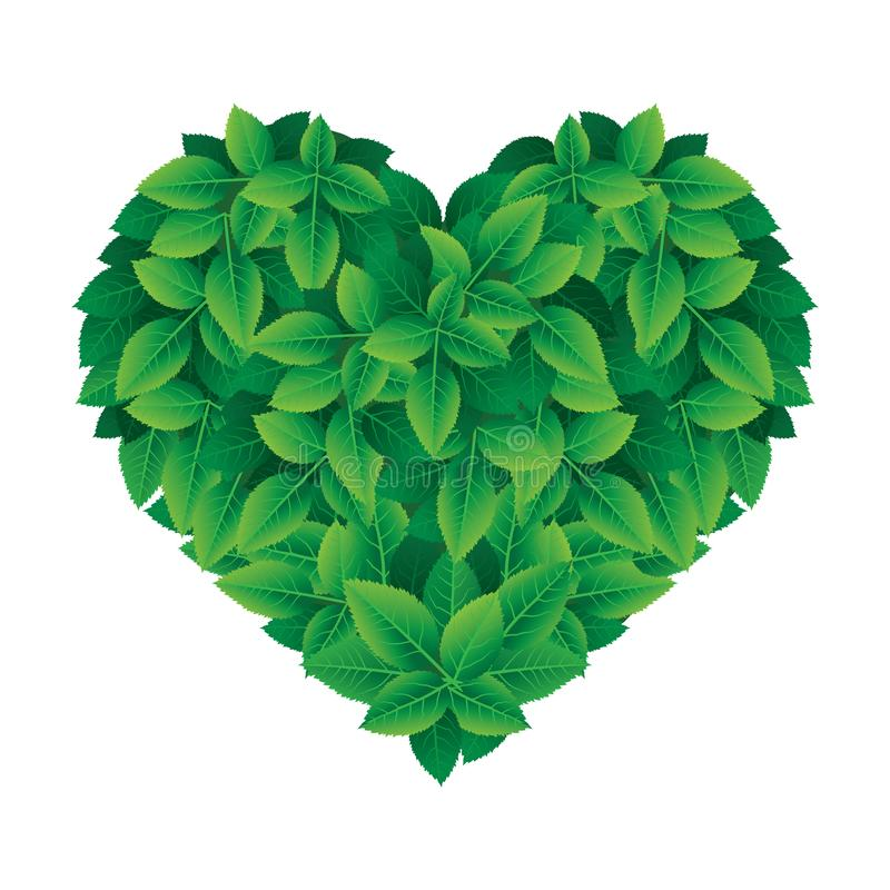 Coração da folha do vetor feito das folhas ilustração do vetor