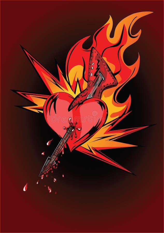 Coração da guitarra nas flamas ilustração do vetor