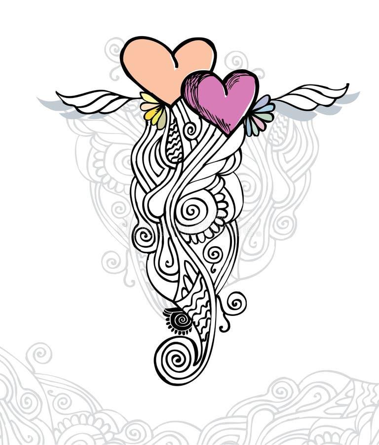Coração da ilustração do vetor do amor/doodle ilustração royalty free