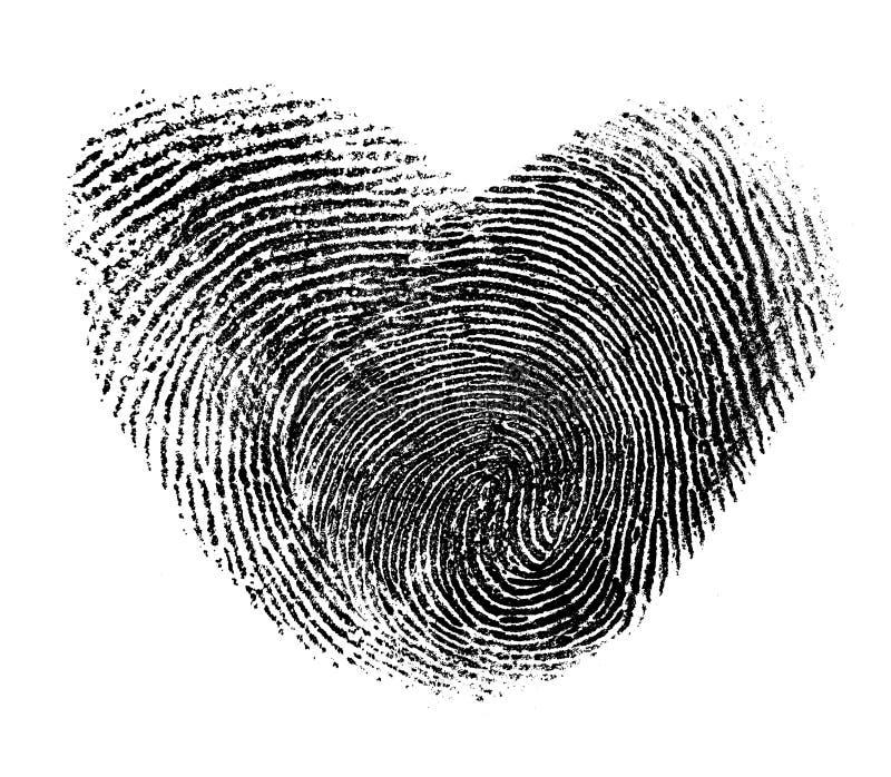 Coração da impressão digital isolado foto de stock