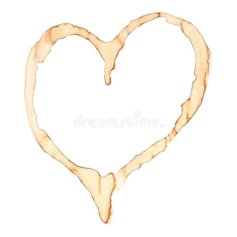 Coração da mancha do café imagem de stock royalty free