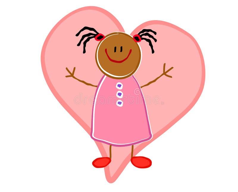 Coração da menina do americano africano ilustração do vetor