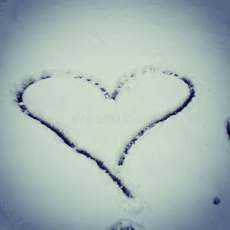 Coração da neve fotografia de stock