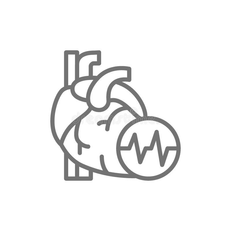 Coração da obesidade, gordura visceral, linha ícone do cardíaco de ataque ilustração stock