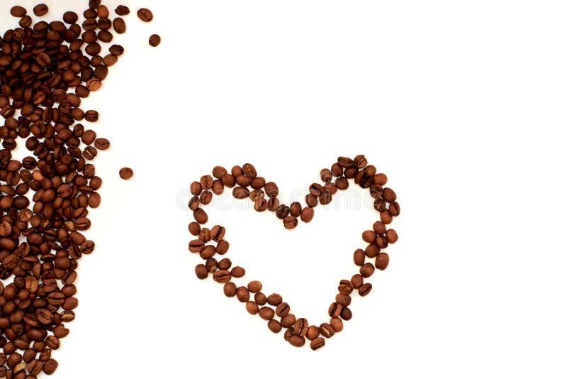 Coração da opinião do close-up dos feijões de café de fotografia de stock