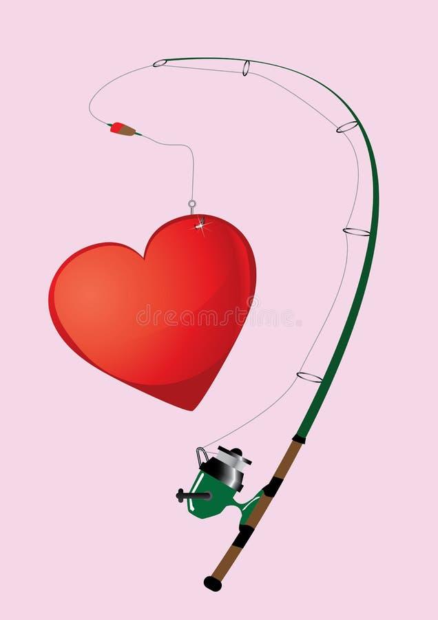 Coração da pesca ilustração do vetor