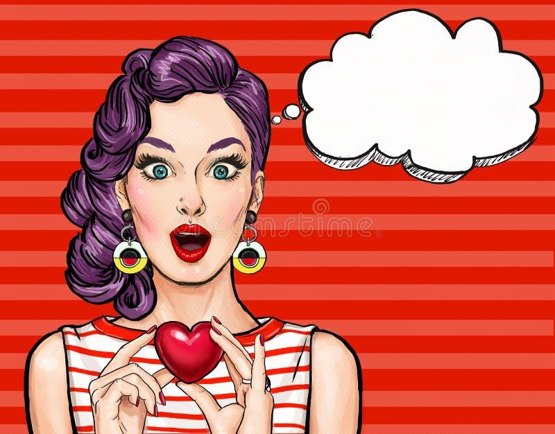 Coração da posse da mulher do pop art com bolha do pensamento