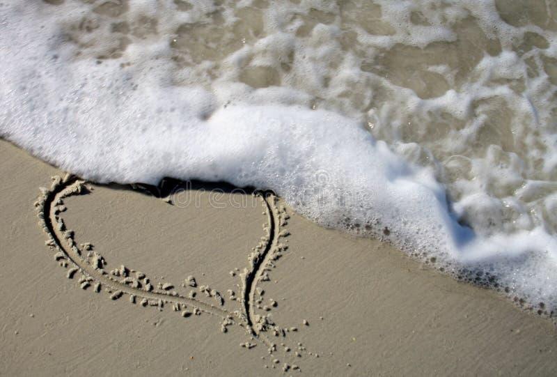 Coração da praia fotos de stock