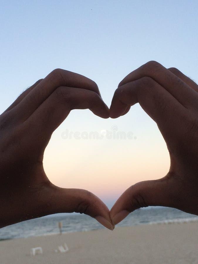 Coração da praia fotografia de stock