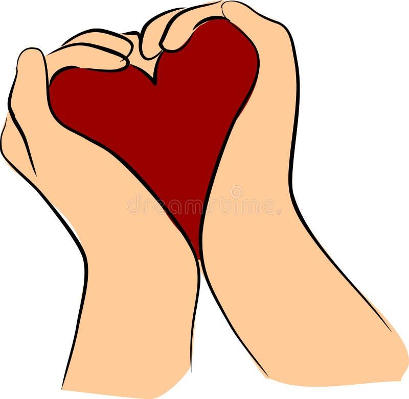 Coração da preensão das mãos ilustração stock
