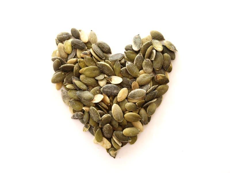 Coração da semente de abóbora imagens de stock