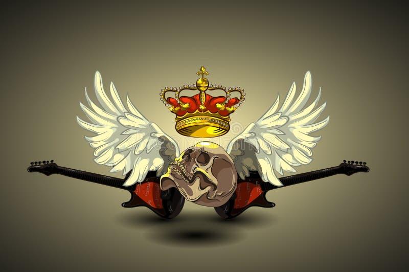 Coração da tatuagem com asas, guitarra, crânio e coroa no fundo branco Lugar para seu texto Vetor ilustração royalty free