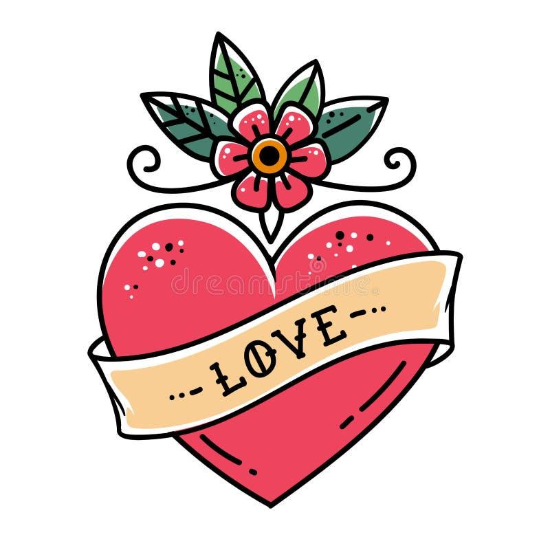 Coração da tatuagem com flor e fita Símbolo do amor ilustração do vetor