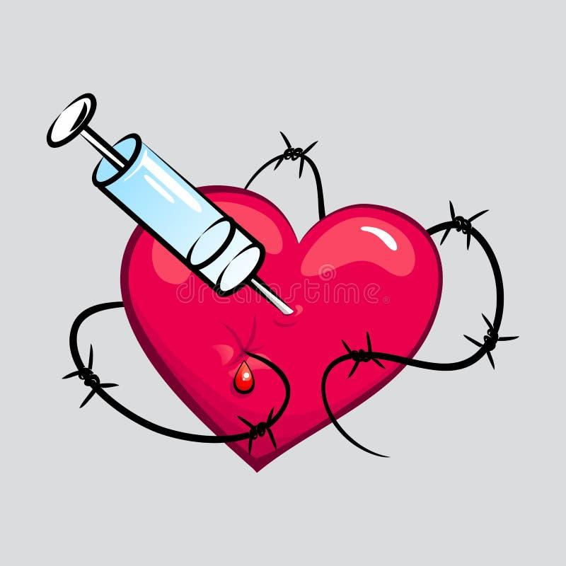 Coração da tatuagem do toxicômano ilustração stock