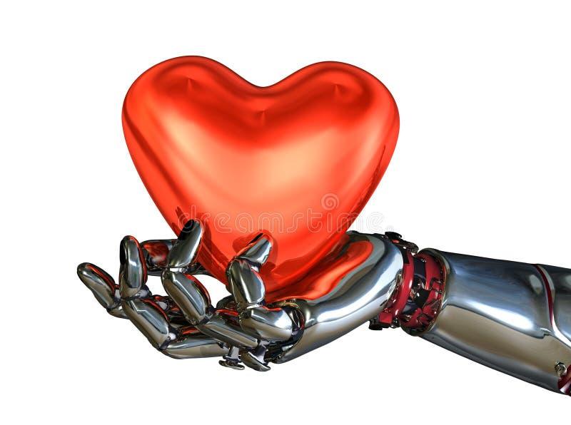 Coração da terra arrendada da mão do robô