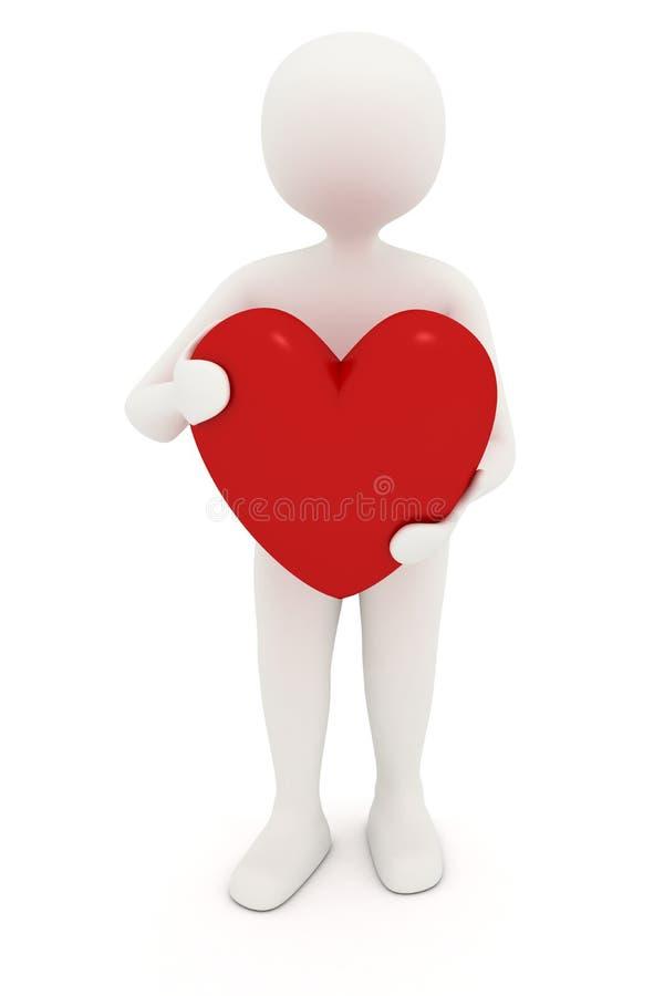 coração da terra arrendada do homem 3d ilustração stock