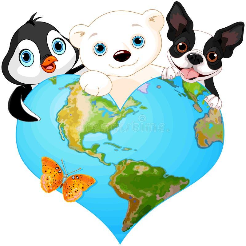 Coração da terra com animais ilustração do vetor