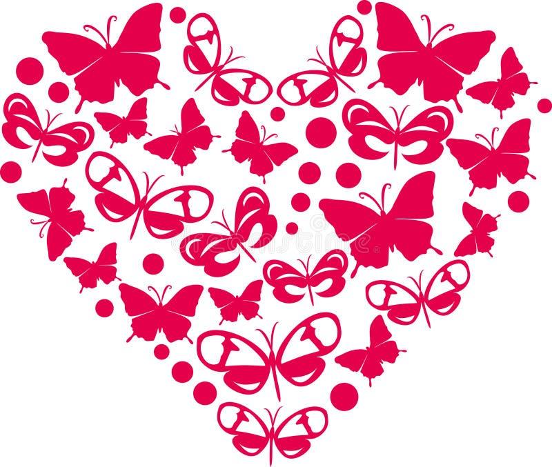 Coração das borboletas ilustração do vetor