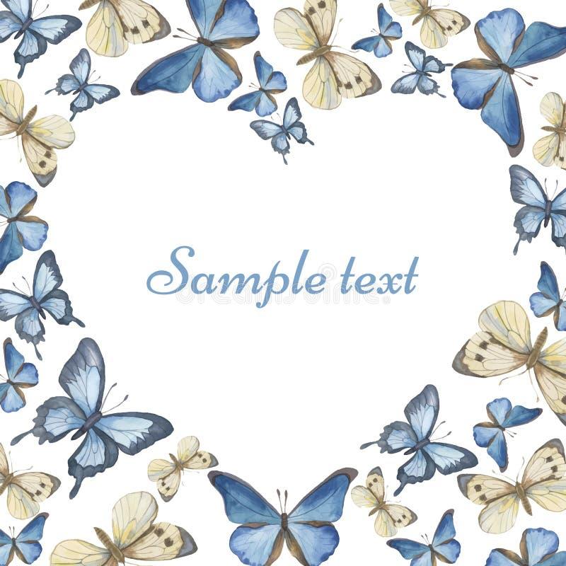 Coração das borboletas da aquarela Vetor ilustração do vetor