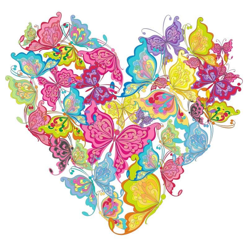 Coração das borboletas. Ilustração do vetor   ilustração do vetor