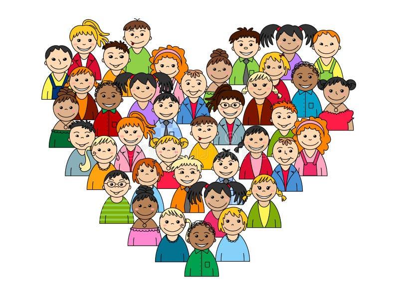 Coração das crianças e dos adolescentes ilustração royalty free