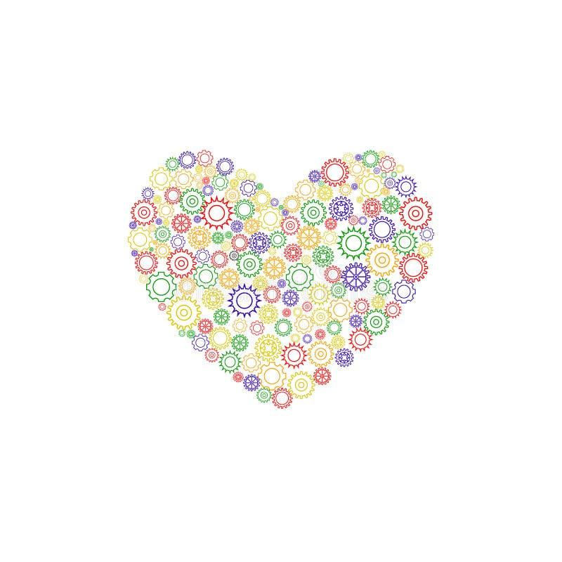 Coração das engrenagens coloridas ilustração stock