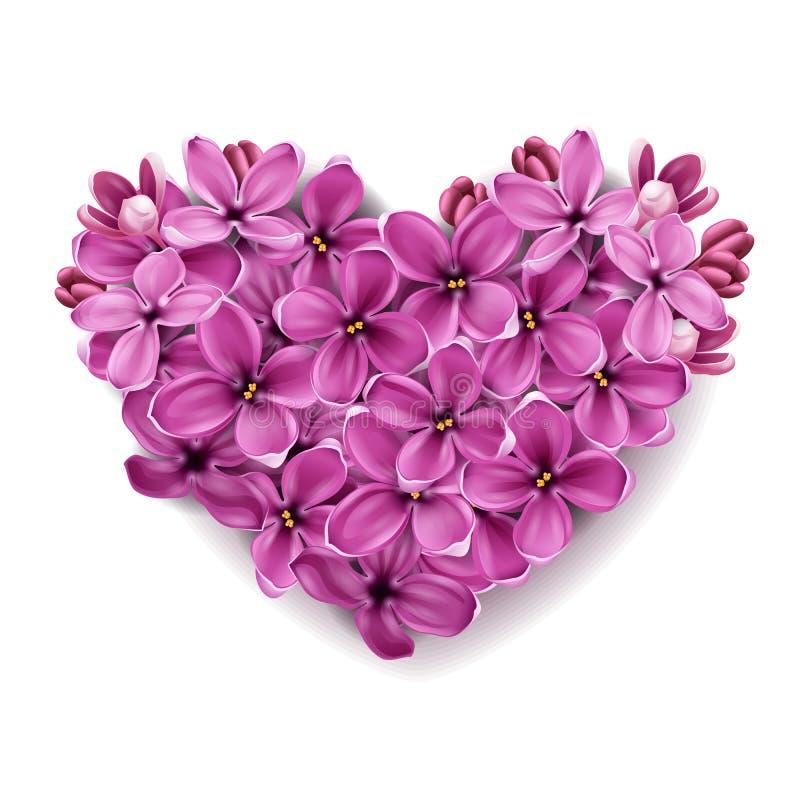 Coração das flores de um lilac. ilustração stock