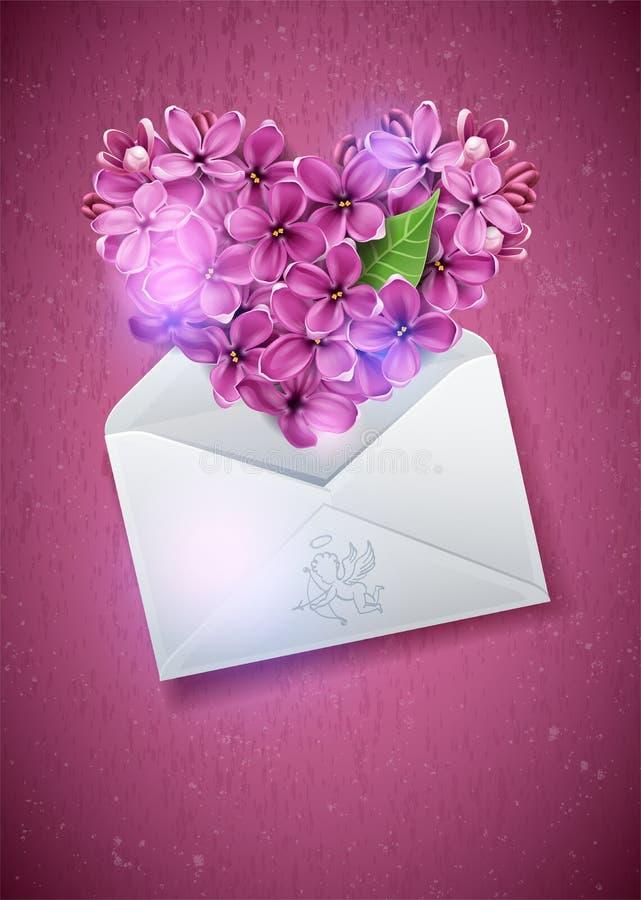Coração das flores de um lilac ilustração stock