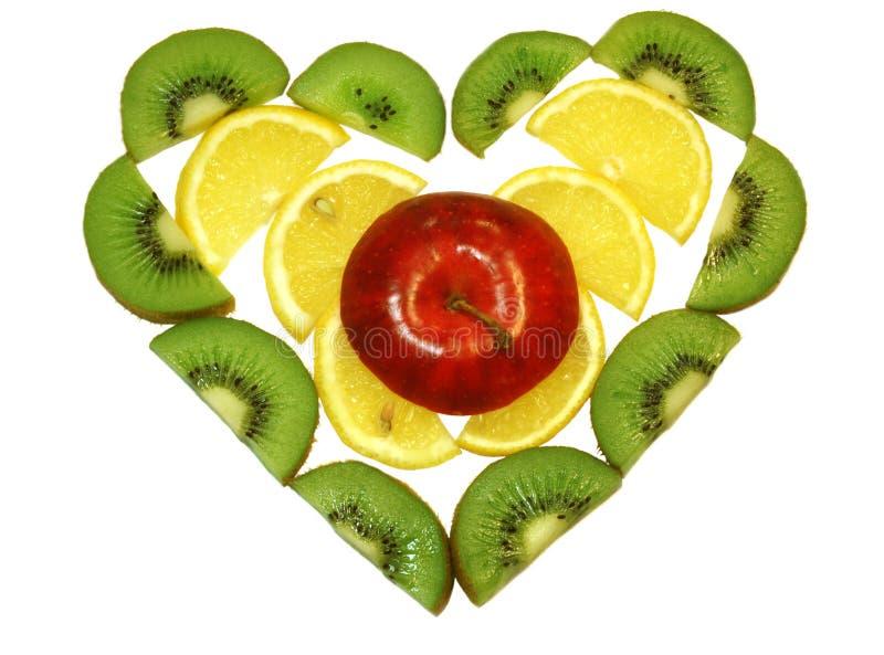 Coração das frutas fotografia de stock