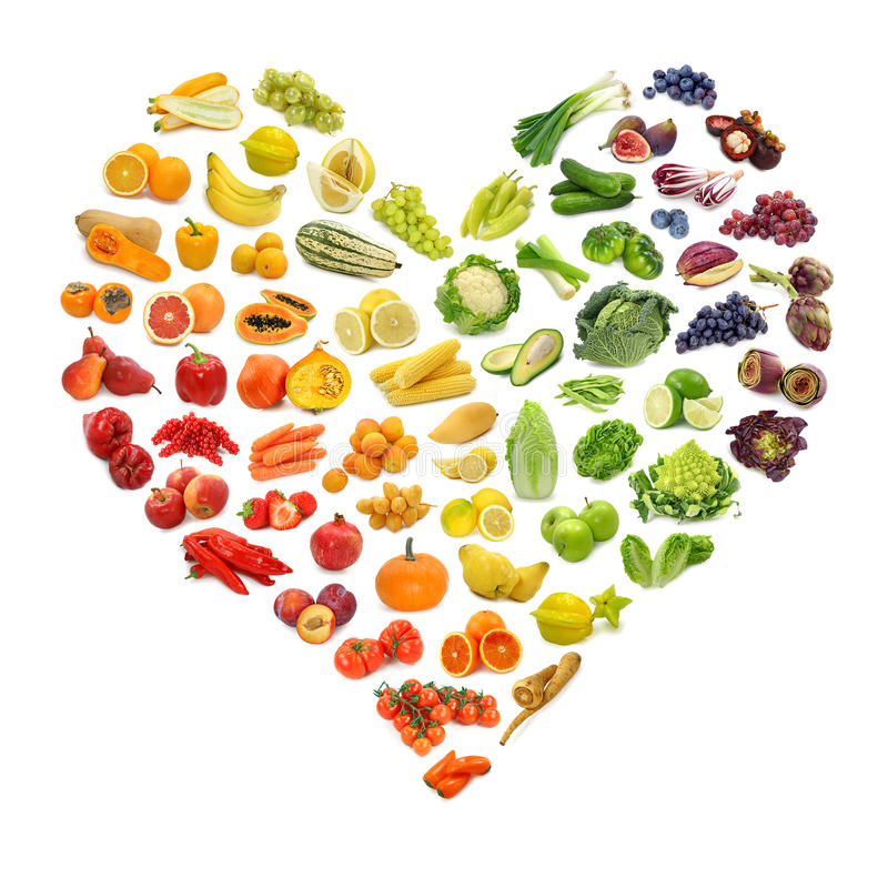 Coração das frutas e verdura fotografia de stock royalty free
