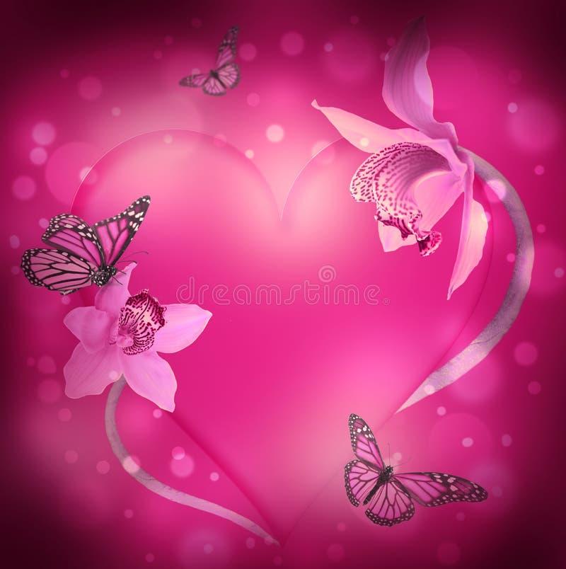 Coração das orquídeas e das borboletas ilustração stock
