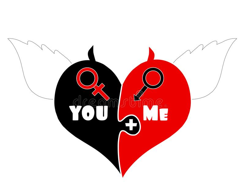 Coração das partes do enigma com Angel Wings, chifres do diabo ilustração royalty free