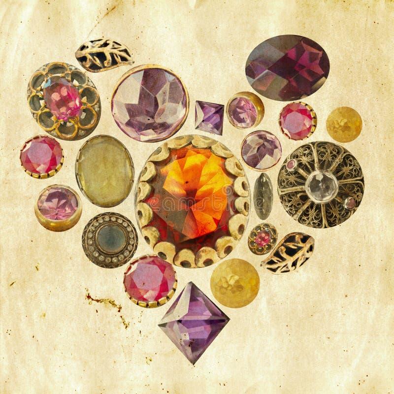 Coração das pedras preciosas no fundo do grunge fotos de stock royalty free