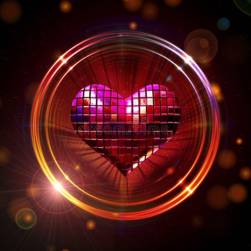 Coração de brilho do disco ilustração royalty free