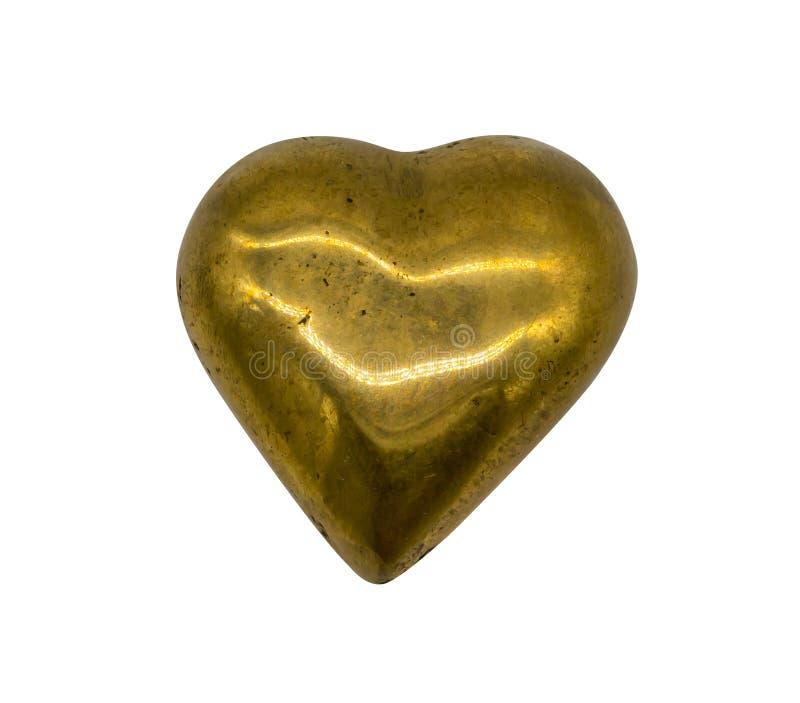 Coração de bronze do ouro no branco fotografia de stock royalty free