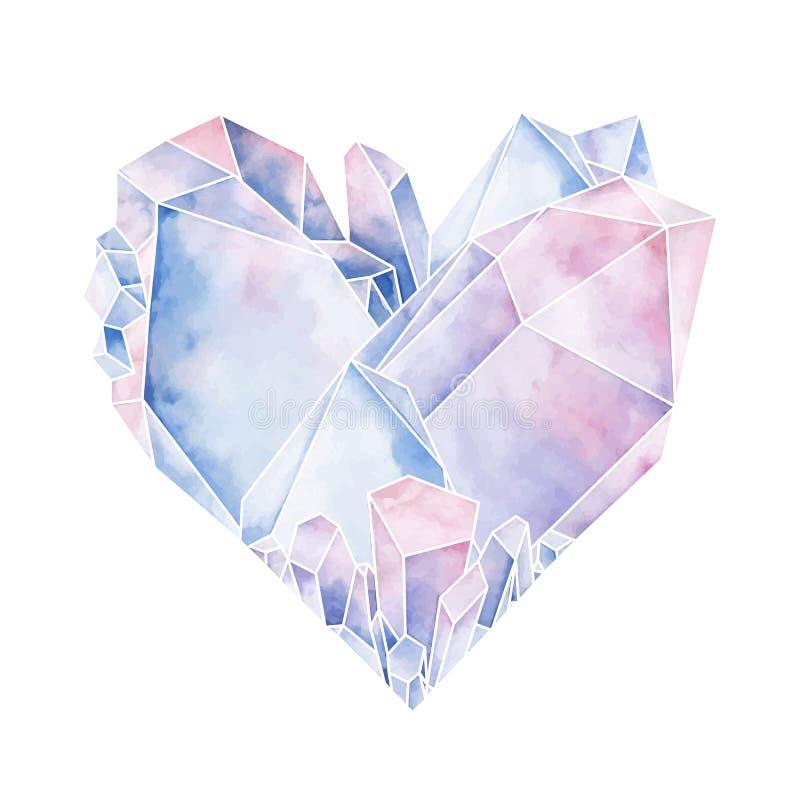 Coração de cristal gráfico ilustração stock
