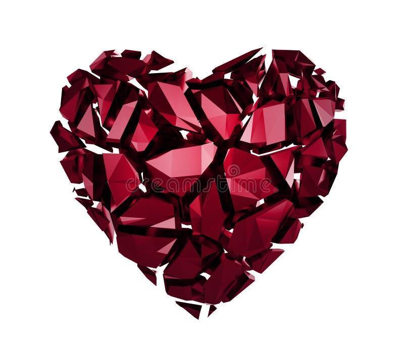 coração de cristal quebrado 3d imagens de stock