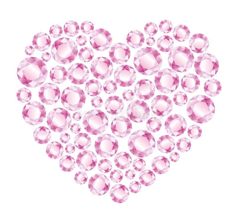 Coração de diamantes cor-de-rosa ilustração royalty free