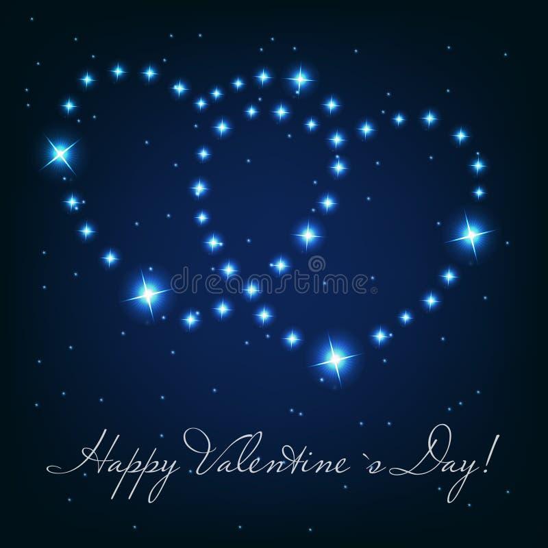 Coração de dois amores das estrelas brilhantes bonitas no ilustração do vetor