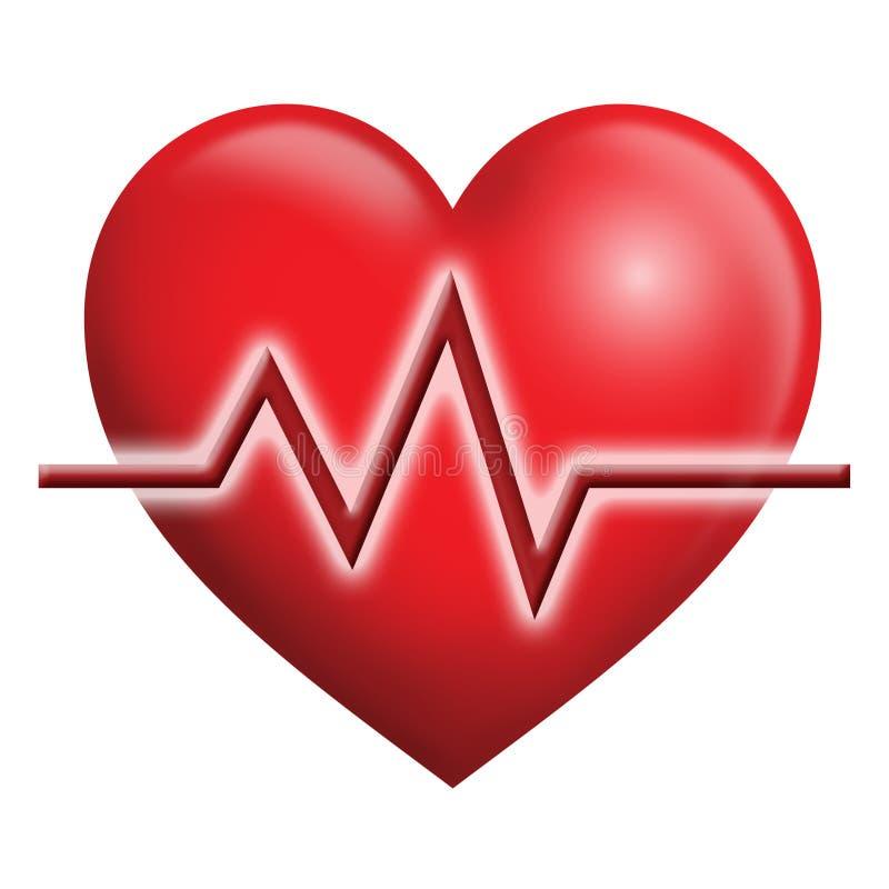 Coração de EKG ilustração stock