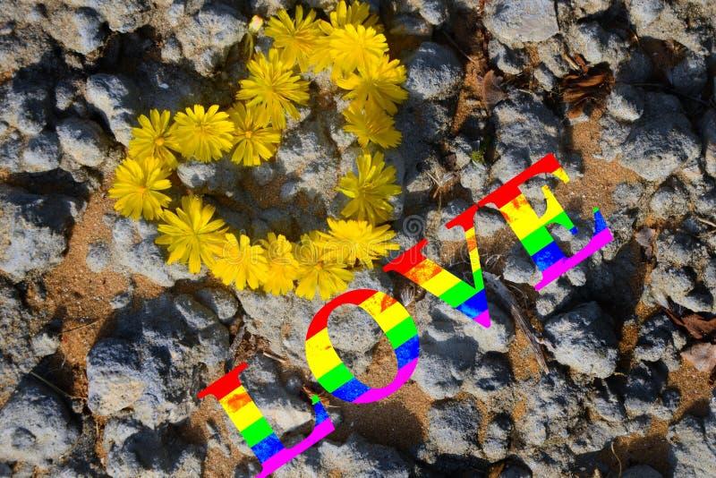 Coração de flores amarelas na perspectiva da areia e das pedras cinzentas inscrição Multi-colorida, amor do arco-íris o conceito  fotos de stock royalty free