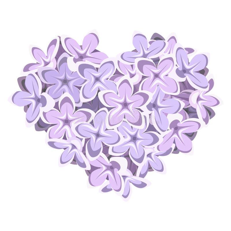 Coração de flores do lilac Ilustração do vetor ilustração stock