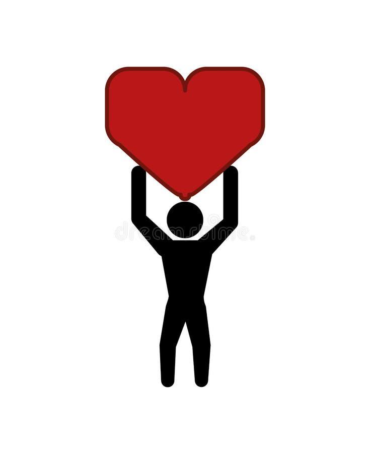 Coração de levantamento da silhueta humana ilustração royalty free