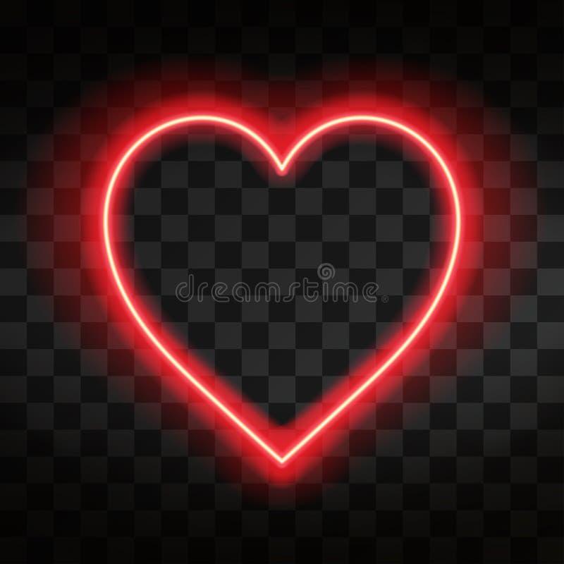 Coração de néon brilhante Sinal do coração no fundo transparente escuro Efeito de néon do fulgor ilustração stock