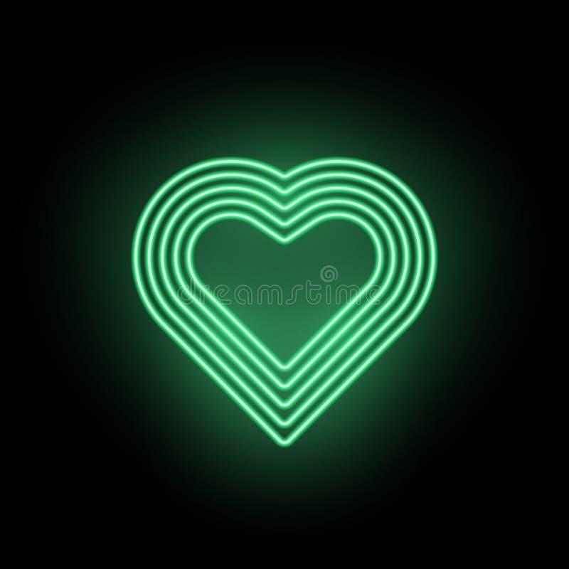 Coração de néon do vetor, silhueta de néon do coração verde ilustração do vetor