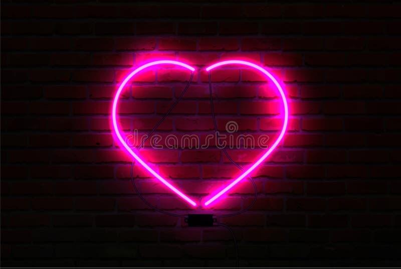 Coração de néon de incandescência do rosa no fundo da parede de tijolo ilustração royalty free
