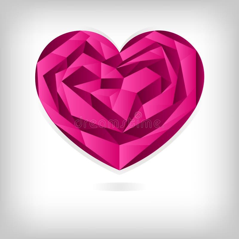 Coração de Origami, conceito do fundo do dia do `s do Valentim ilustração royalty free